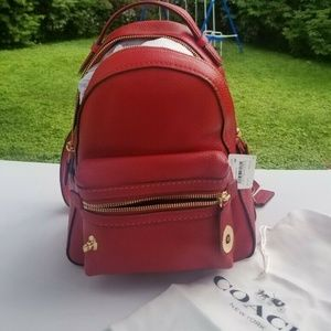 Coach CAMPUS 23 Pebbled Leather Backpack in Red